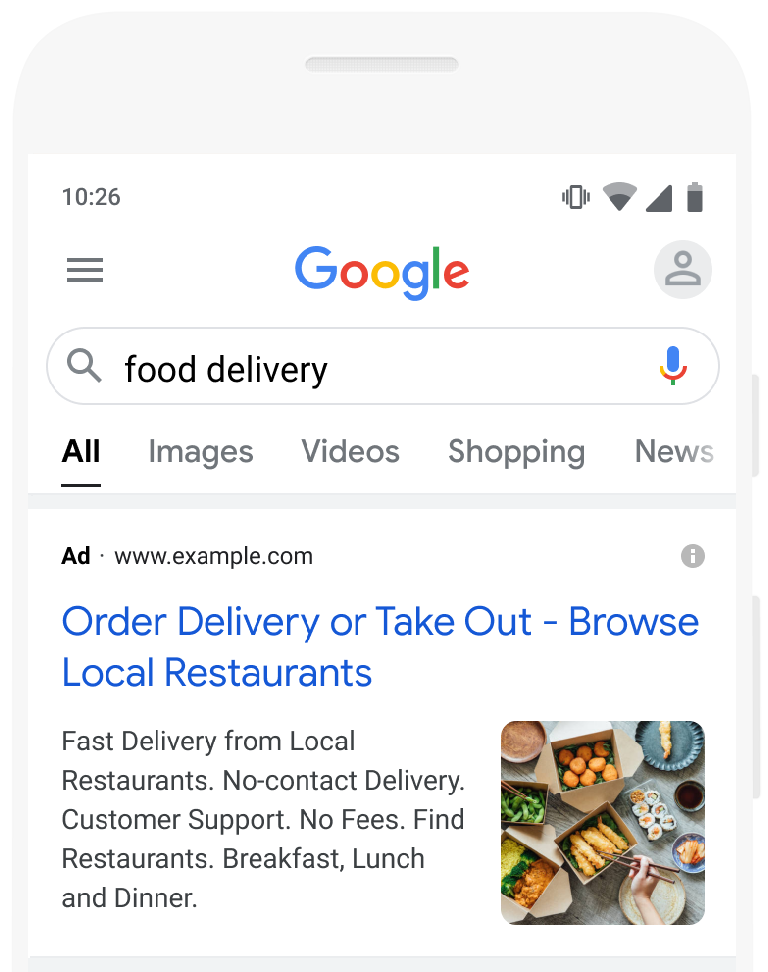 Google Ads Image Extension Example