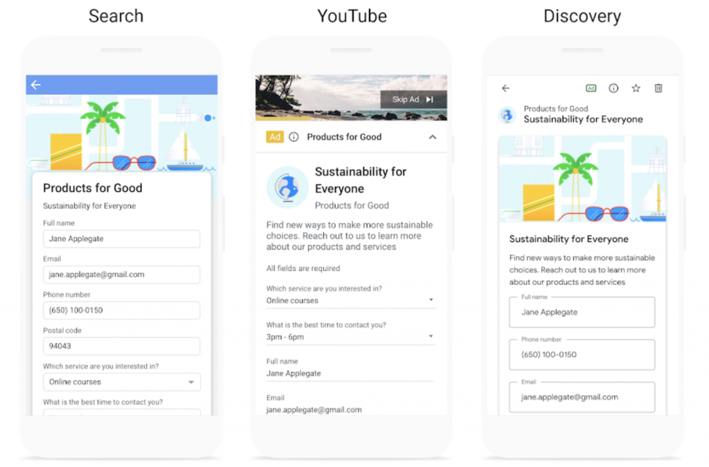 Google Lead Form Extensions are available across search, video (beta), discovery and display campaigns.