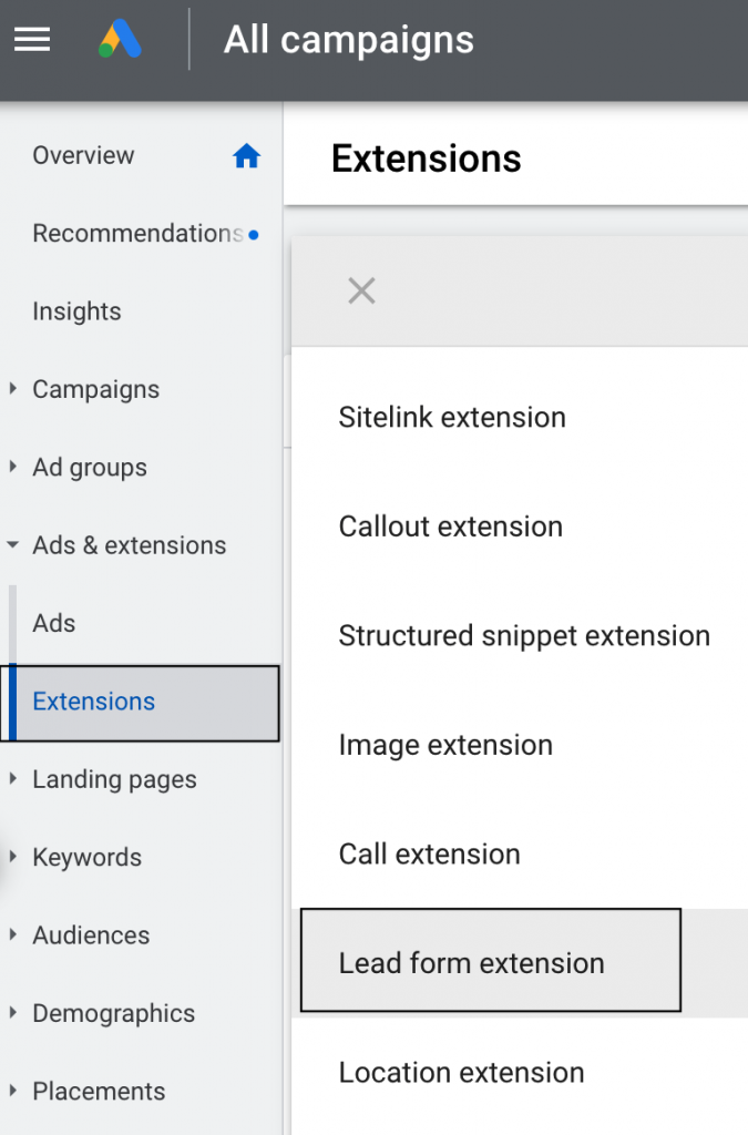 Where to find the 'extensions' menu on Google Ads.