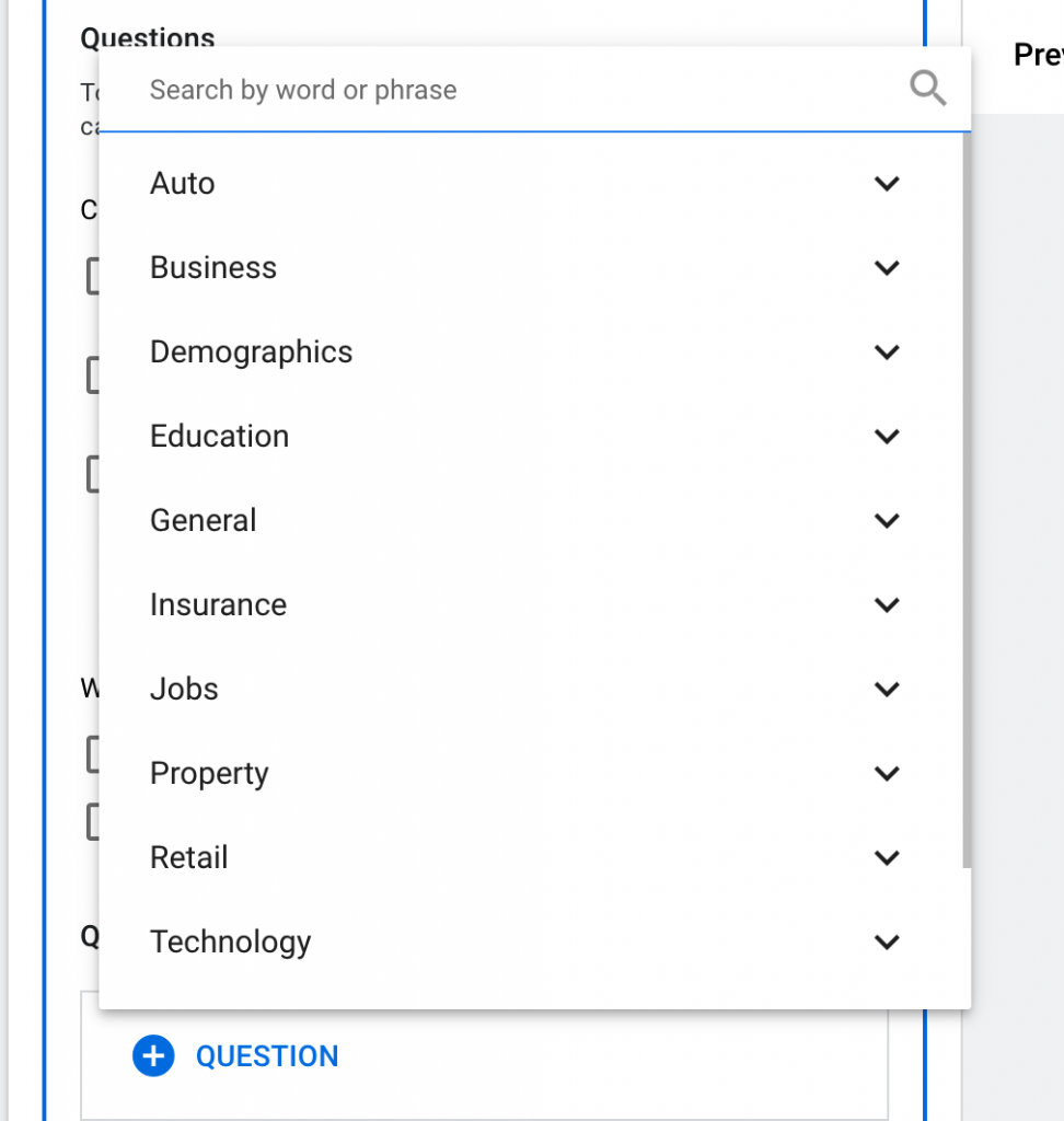 Google lead form extension qualifying questions section.