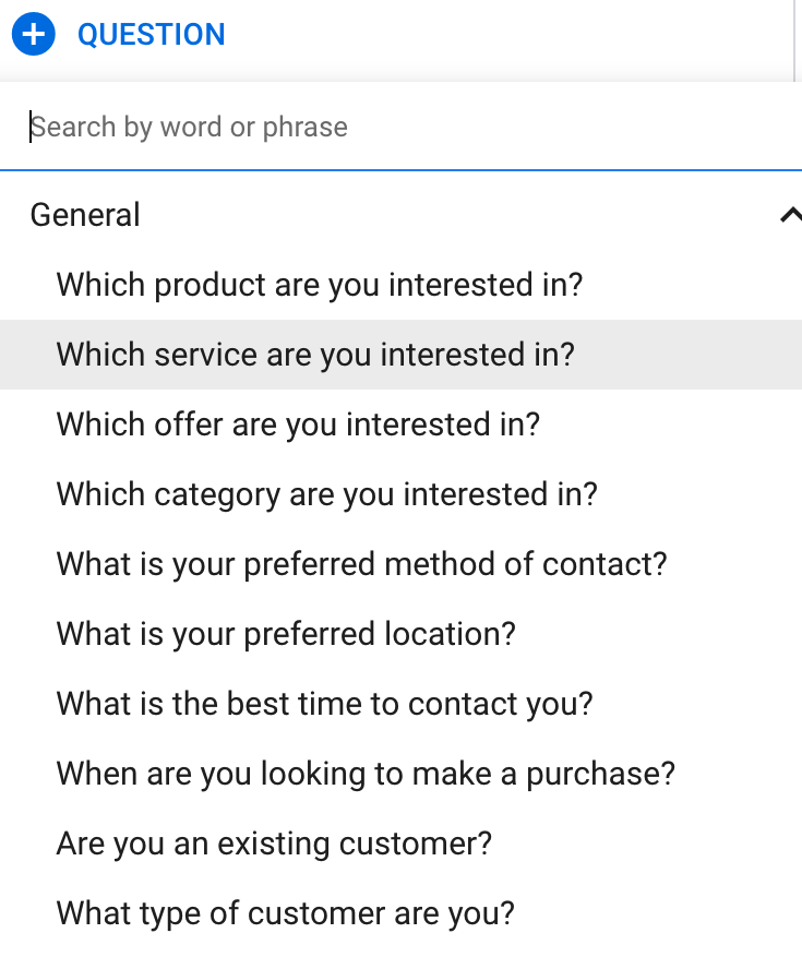 Google lead form extension qualifying questions section in detail.