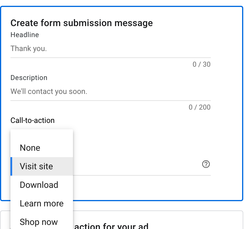 Google lead form extension - form submission message section.