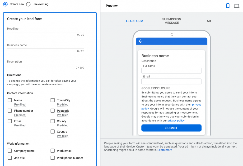 How to create a Google lead form extension step by step explanation.