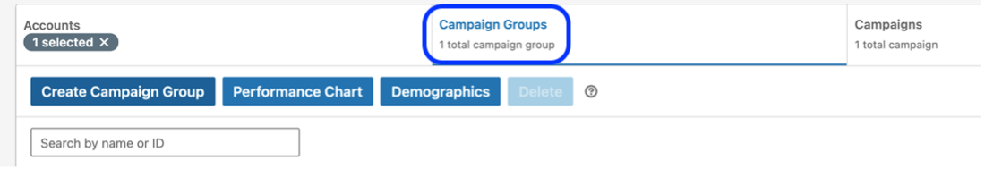 Campaign groups in LinkedIn ads.