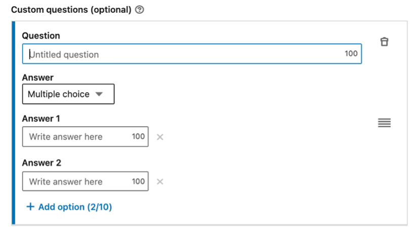 Custom questions section of a lead generation form on LinkedIn.