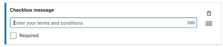 The checkbox message section of a lead generation form on LinkedIn.