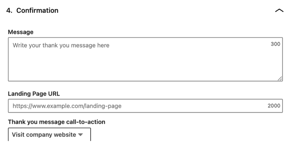The confirmation section of a lead generation form on LinkedIn.