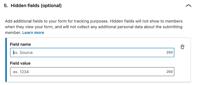 The hidden fields section of a lead generation form on LinkedIn.