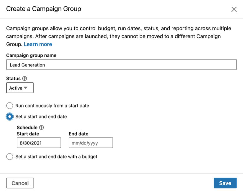 How to create a campaign group in LinkedIn.